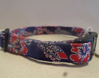 Hawaiian Print Dog Collar Set!
