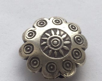 14mm Hill Tribe Thai Silver Stamped Sun Cutout Bead - price per each