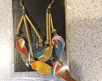 "Laurel Burch 22k Gold-Plate Enameled ""LORIKEET,PAJARITA,KUCHULU"" Drop Earrings Rare Extraordinary Vintage Incredible Earrings"