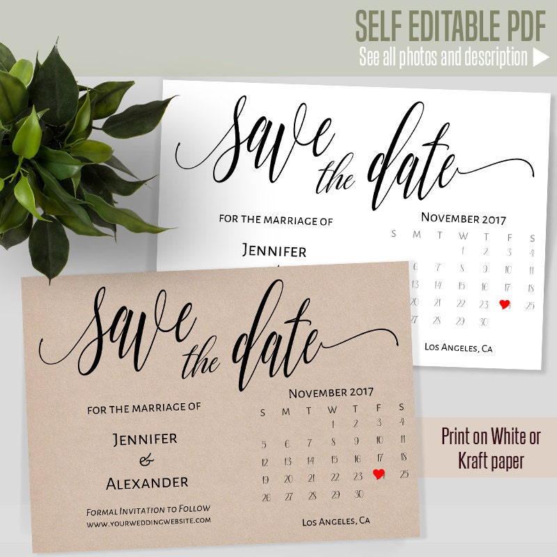 Editable save date | Etsy