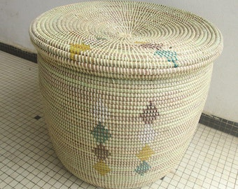 Ivory, Flat Lid Basket, Handwoven Laundry and Storage Basket, Soothing colours, Woodland Style
