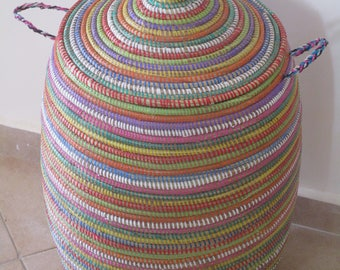 Handwoven Basket, Laundry Basket, Stripes, Colourful, Bright, Vivid colours Hamper, Bright Things and More