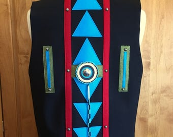 NATIVE CROSS VEST - Native American hand made vest