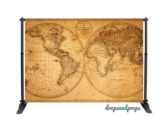 Nautical World Map - Photography Backdrop