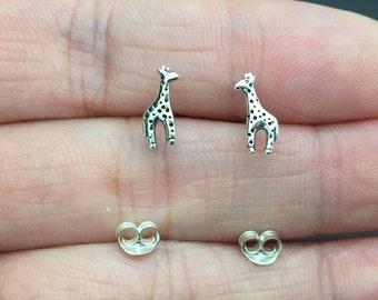Tiny Giraffe stud Earrings, Sterling silver Giraffe stud Earrings,Good Luck Earrings, stud- cartilage, helix, tragus