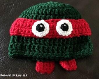 Newborn Ninja Turtle Inspired Hat / Handmade / Baby Shower Gift / Photo Prop / Newborn Crochet / Ninja Turtles / Hand Crochet
