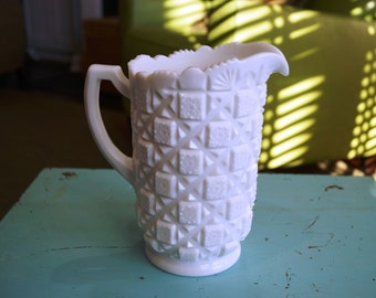 1960's Westmoreland Milk Glass Pitcher, Old Quilt Pattern
