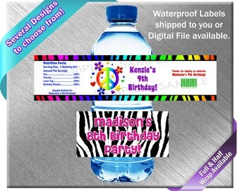 Zebra Print Water Bottle Labels - PRINTED OR FILE - Birthday Party Supplies Favors