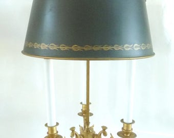 French Dore Three Candle Bouillotte Lamp Tole Shade French Empire Style Swans