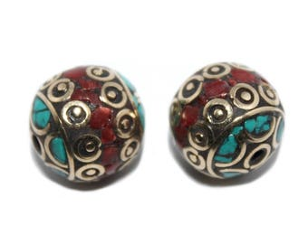 Turquoise Beads Brass beads Coral beads (2 beads) Nepalese Beads Tibetan Beads Nepal Beads Turquoise Beads Tibet beads tribal beads B270