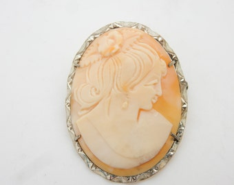 Antique Sterling Silver/925 Large Cameo Brooch/Pin Pendant; 6.3gr ; sku # 2898