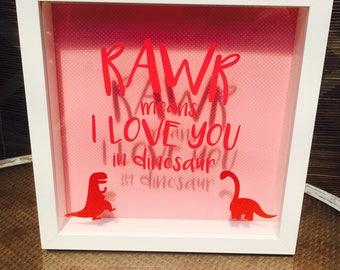 Pink Polka Dot, Hot Pink Sparkly Dinosaur Box Frame. Rawr! Means I Love You In Dinosaur. Cute Kids Bedroom Decor. Nursery. Baby Room.