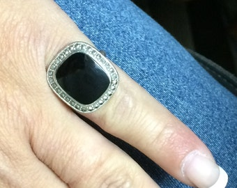 STUNNING Sterling Silver 925 Black Onyx Ring NICE!