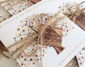 20 x Rustic oak tree invitations with twine tie/wrap, bow and tag attachment, textured, wooden effect invites (larger quantities available)