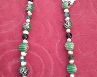 Green Vintage necklace with Freshwater Pearls