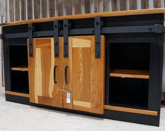 Modern Cherry Barnwood Credenza Console