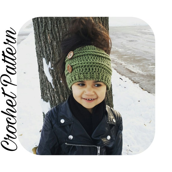 Crochet Patterns Messy Bun Beanie : Messy Bun Beanie Crochet Pattern Childs Bun Hat Crochet Pattern ...