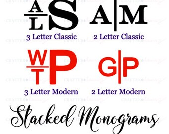 """Stacked Monogram Decal - Choose 2"""", 3"""", 4"""", 5"""", 6"""", 7"""" or 8""""- perfect for phone/tablet cases, waterbottles, cars and more"""
