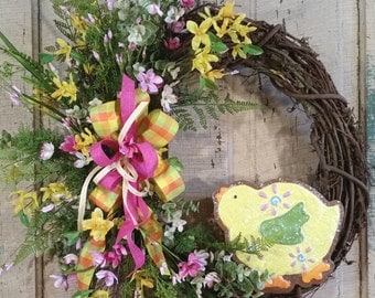 Easter Wreath-Spring Wreath-Spring Chick Wreath-Easter Chick Wreath-Grapevine Wreath-Forsythia Wreath-Spring Wreath for Front Door