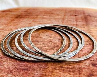 Simple Silver Bangle Bracelets. Silver Bangles. Sterling Silver Jingle Bracelets