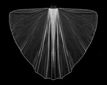 Angel Cut Crystal and Rhinestone Beaded Edge Wedding Veil in Knee Length or Cathedral Length