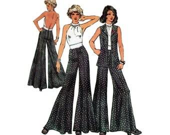 Women's Backless Halter Top, Unlined Vest, Wide Leg Palazzo Pants Sewing Pattern,Misses Size 14 Bust 36 Uncut Vintage 1970's Simplicity 5611