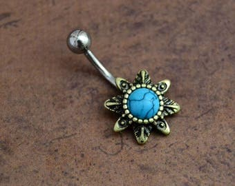 Turquoise Belly 3 Sizes, Short Medium Standard Turquoise Belly Button Ring,  Boho Bohemian Belly Button Ring, 14G Surgical Steel 310