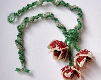Bunch of tulips necklace Beaded red and white tulip flowers necklace Beadweaving flower necklace