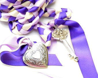 Key to Love  Wedding Handfasting Cord ~  Purple Theme ~ Celtic Handfasting ~ Handfasting Ceremony ~ Tying the Knot ~ Vows