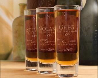 Gifts for Groomsmen, Set of 8, Custom Shot Glasses