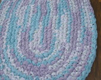 "38""x24"" Purple, Aqua and White, Oval Crochet Rag Rug, Hand Crocheted Rug, Braided Rug, Girl's Rug, Girl's Throw Rug,Kitchen Rug,Entryway Rug"