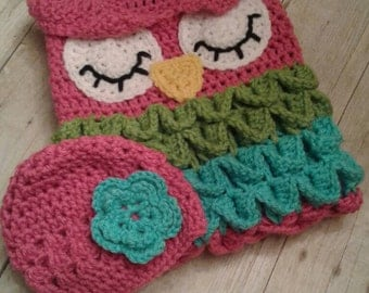 Crochet Baby Owl Cacoon - Baby sack- Sleeping Owl- Photo Prop- Girl or Boy