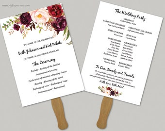 Watercolor Roses 5x7 Wedding Program Fan Template (9059) - INSTANT DOWNLOAD Template - Ready to Print - Editable PDF