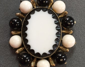 Large Dramatic Black and White Glass Brooch.  Free shipping