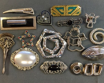Lot of Fifteen Brooches for Wear or Crafts Repurposing-As Is.  Free shipping