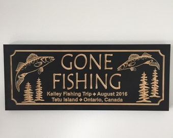 Gone Fishing, Personalized Man Cave Sign, Lakehouse Plaque, Walleye, Pine Trees, Cabin Wallart, Gifts for Dad, Unique Gift Ideas Fathers Day