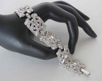 Stunning Art Deco/Art Modern Pot Metal Crystal Rhinestone Bracelet