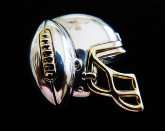 Vintage Two Toned Football Helmet And Football Combination Brooch Pendant By Best