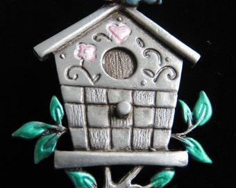JJ Jonette Bluebird Perches On Top Of Birdhouse Brooch Pin