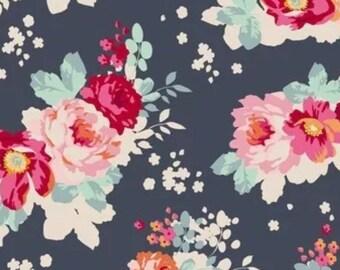 Tilda Flower cloud Dark Slate Patchwork Craft Quilting Cotton fabric ~ full meter