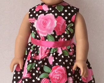 """American Made Girl Doll Clothes Dress Fits 18"""" Doll- Roses, Hearts and Bows...Valentine's Day"""