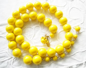 Vintage Necklace Beaded Yellow Choker on Chain Vintage Japan Bright Yellow Wedding Asian Mid Century