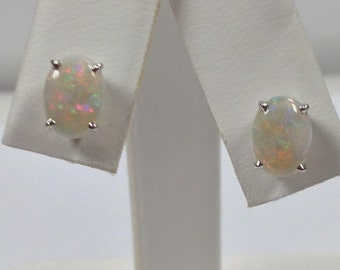 Natural Opal Stud Earrings Solid 14kt White Gold