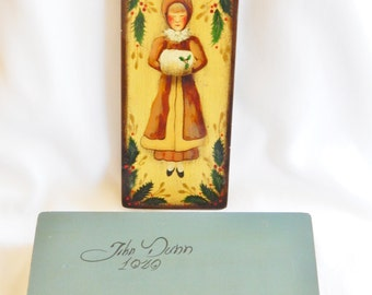 John Dunn Hand Painted Vintage Wood Box - Woman With Muff - Holly Leaves And Berries - Folk Art