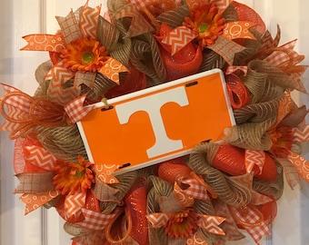 Tennessee Wreath, Tennessee Vols Wreath, Tennessee Vols, Tennessee Vols Gift, Tennessee Vols Fan, Orange Wreath