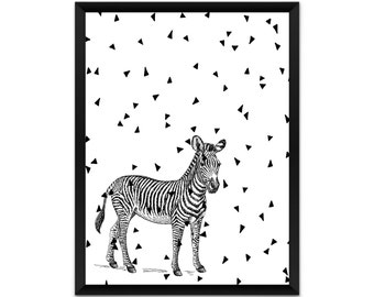 print,   zebra wall art, triangles, illustration, poster,wall decor, A4, A3