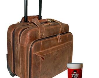 Men's Pilot Case - Trolley AIR1 brown Grassland-Leather - BARON of MALTZAHN