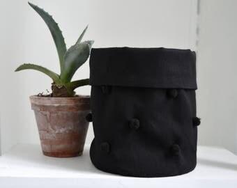 small storage basket/ cute fabric storage basket with small pompom decoration/ black home decor/ nursery decor