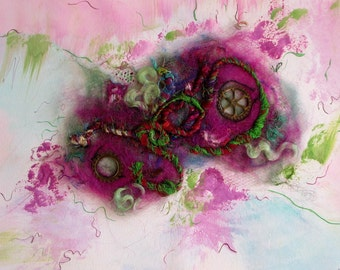 "Abstract art, textile art, original artwork, painting mix media, felting & painting ""Gears"" white or pink fuschia frame 17,3 in / 13,4 in"