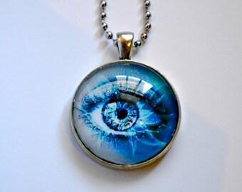 Blue Eye - Abstract - Fashion Eye - Cabochon pendant Necklace